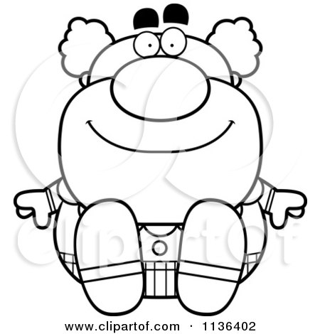 Cartoon Clipart Of An Outlined Sitting Pudgy Circus Clown - Black And White Vector Coloring Page by Cory Thoman