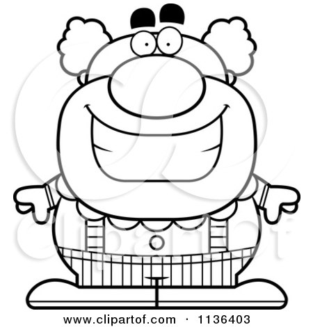 Cartoon Clipart Of An Outlined Happy Pudgy Circus Clown - Black And White Vector Coloring Page by Cory Thoman