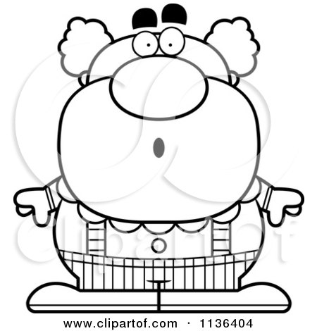 Cartoon Clipart Of An Outlined Surprised Pudgy Circus Clown - Black And White Vector Coloring Page by Cory Thoman