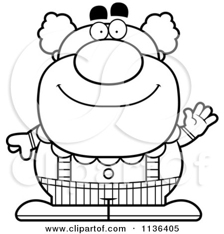 Cartoon Clipart Of An Outlined Waving Pudgy Circus Clown - Black And White Vector Coloring Page by Cory Thoman