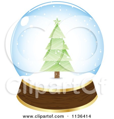 Cartoon Of A Christmas Tree Snow Globe - Royalty Free Vector Clipart by Andrei Marincas