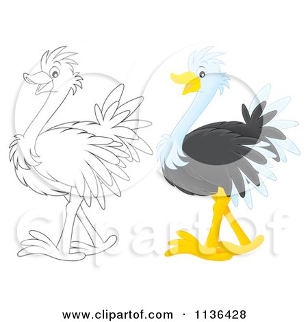 Cartoon Of A Cute Outlined And Colored Ostrich - Royalty Free Vector Clipart by Alex Bannykh