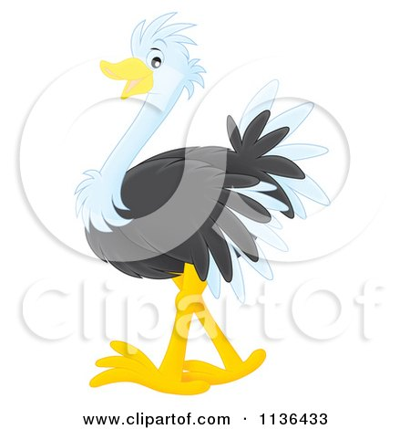 Cartoon Of A Cute Ostrich - Royalty Free Vector Clipart by Alex Bannykh