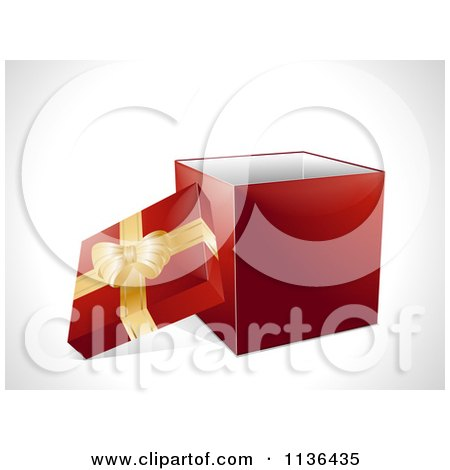 Clipart Of A 3d Red Christmas Gift Box With A Gold Ribbon - Royalty Free Vector Illustration by elaineitalia