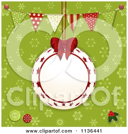 Clipart Of A Suspended Bauble Frame Over Green Snowflakes With Bunting Flags - Royalty Free Vector Illustration by elaineitalia