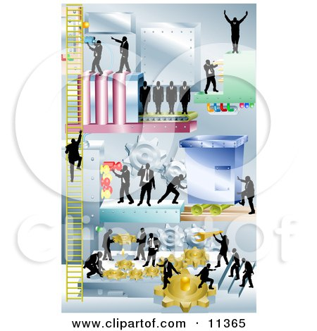 Businessmen Working Together and Using a Giant Piece of Machinery Clipart Illustration by AtStockIllustration