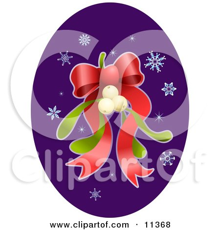 Mistletoe With a Red Ribbon Bow and Snowflakes Posters, Art Prints