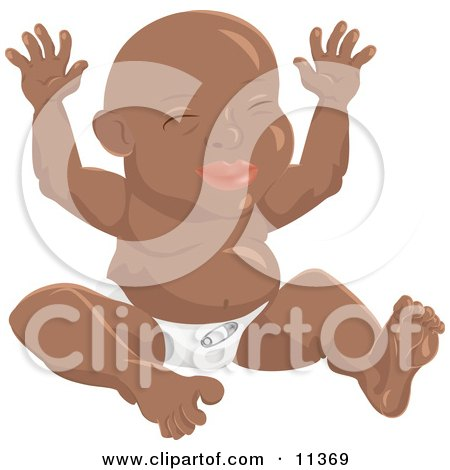 Happy African American Baby in a Diaper Sitting With its Hands up Clipart Illustration by AtStockIllustration