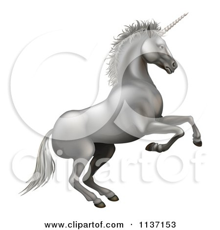 Clipart Of A Rearing Silver Unicorn - Royalty Free Vector Illustration by AtStockIllustration