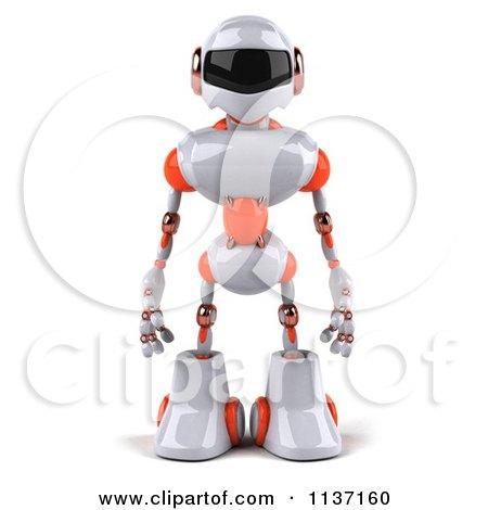 3d White And Orange Male Techno Robot Posters, Art Prints