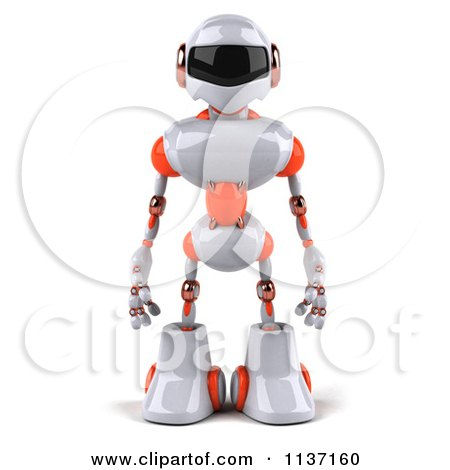 Clipart Of A 3d White And Orange Male Techno Robot Royalty Free CGI Illustration