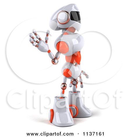 Clipart Of A 3d White And Orange Male Techno Robot Waving And Facing Right - Royalty Free CGI Illustration by Julos