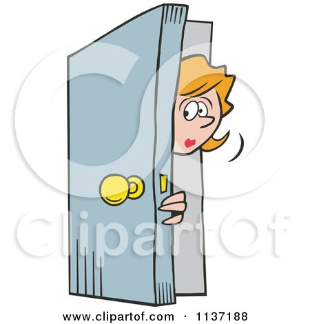 Cartoon Of A Man Peeking In A Door Royalty Free Vector