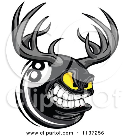 Cartoon Of An Aggressive Eight Ball With Antlers - Royalty Free Vector Clipart by Chromaco