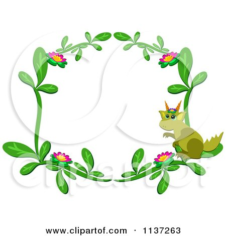 Cartoon Of A Floral Dragon Frame - Royalty Free Vector Clipart by bpearth