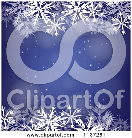 Clipart Of A Blue Winter Or Christmas Snowflake Background With Copyspace 5 - Royalty Free Vector Illustration by vectorace