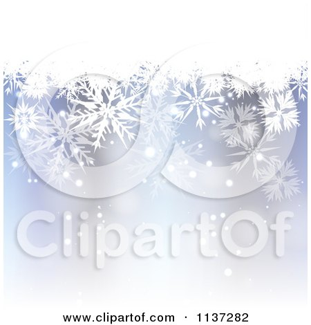 Clipart Of A Blue Winter Or Christmas Snowflake Background With Copyspace 1 - Royalty Free Vector Illustration by vectorace