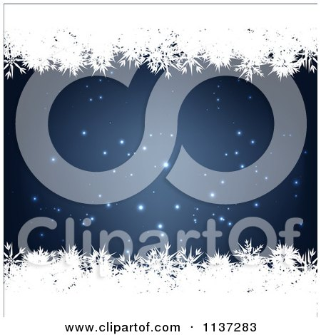 Clipart Of A Blue Winter Or Christmas Snowflake Background With Copyspace 7 - Royalty Free Vector Illustration by vectorace