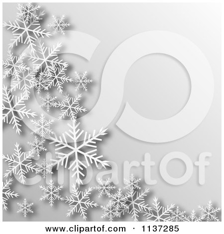 Clipart Of A Grayscale Winter Or Christmas Snowflake Background With Copyspace - Royalty Free Vector Illustration by vectorace