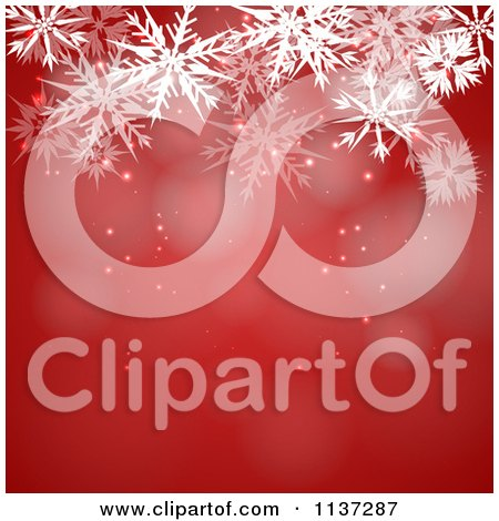 Clipart Of A Red Winter Or Christmas Snowflake Background With Copyspace 1 - Royalty Free Vector Illustration by vectorace
