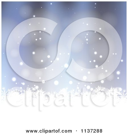 Clipart Of A Blue Winter Or Christmas Snowflake Background With Copyspace 4 - Royalty Free Vector Illustration by vectorace