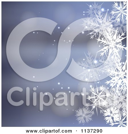 Clipart Of A Blue Winter Or Christmas Snowflake Background With Copyspace 3 - Royalty Free Vector Illustration by vectorace
