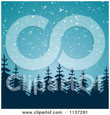 Clipart Of A Snow Falling Down On Silhouetted Evergreen Trees At Night - Royalty Free Vector Illustration by vectorace