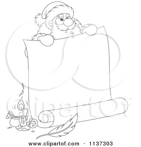 Cartoon Of An Outlined Santa Behind A Large Scroll Letter With Ink - Royalty Free Vector Clipart by Alex Bannykh