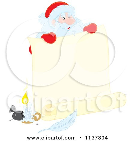Cartoon Of Santa Behind A Large Scroll Letter With Ink - Royalty Free Vector Clipart by Alex Bannykh