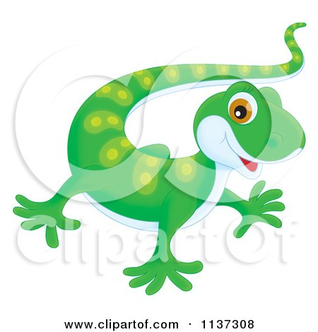 Cartoon Of A Cute Green Gecko - Royalty Free Clipart by Alex Bannykh