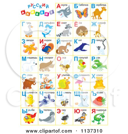 Russian Alphabet Chart With Animals Posters, Art Prints by Alex ...