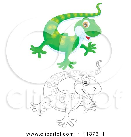 Cartoon Of A Cute Outlined And Green Gecko - Royalty Free Clipart by Alex Bannykh