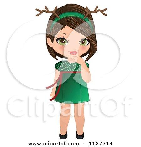 Cartoon Of A Blond Christmas Girl Wearing An Antler Head ...