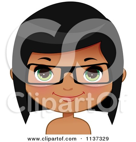 Cartoon Of A Happy Black Or Indian Girl Wearing Glasses 3 - Royalty Free Vector Clipart by Melisende Vector