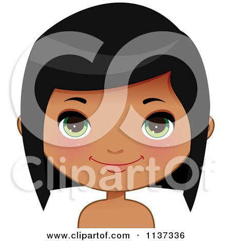 Cartoon Of A Happy Black Or Indian Girl Face 3 - Royalty Free Vector Clipart by Melisende Vector
