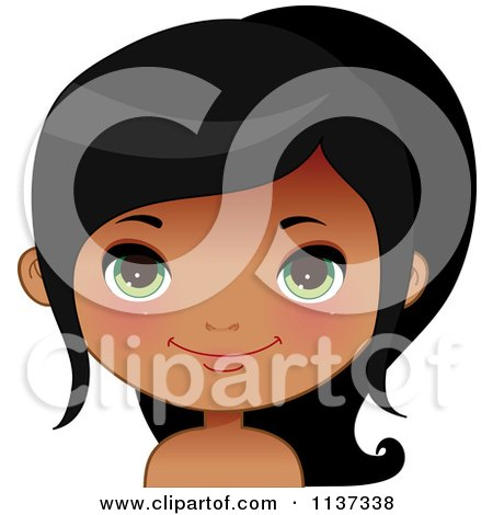 Cartoon Of A Happy Black Or Indian Girl Face 5 - Royalty Free Vector Clipart by Melisende Vector