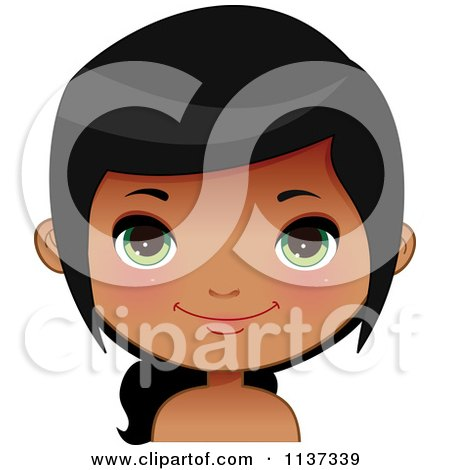 Cartoon Of A Happy Black Or Indian Girl Face 6 - Royalty Free Vector Clipart by Melisende Vector