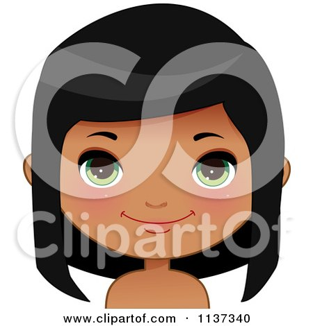 Cartoon Of A Happy Black Or Indian Girl Face 2 - Royalty Free Vector Clipart by Melisende Vector