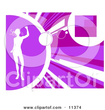 Silhouetted Woman Dancing on a Purple Background Clipart Illustration by AtStockIllustration