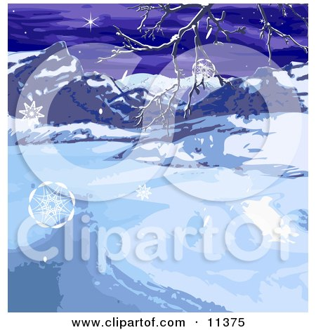Wintry Landscape With Snowflakes, Mountains and Bare Tree Branches Posters, Art Prints