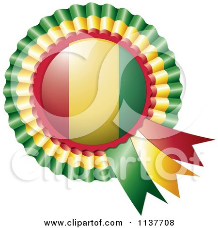 Clipart Of A Shiny Guinea Flag Rosette Bowknots Medal Award - Royalty Free Vector Illustration by MilsiArt