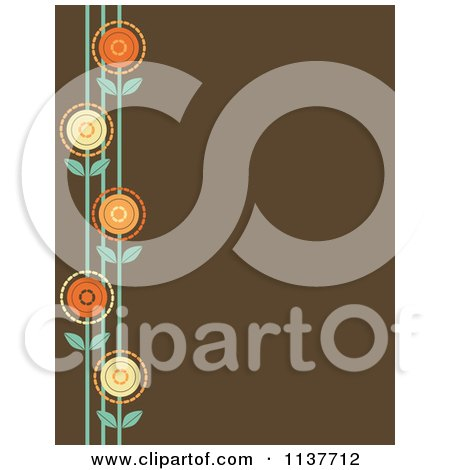 Cartoon Of A Retro Brown Background With A Border Of Flowers - Royalty Free Vector Clipart by Maria Bell