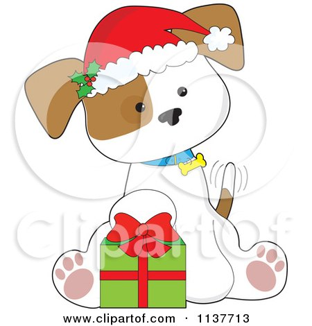 Cartoon Of A Cute Christmas Puppy With A Santa Hat And Present - Royalty Free Vector Clipart by Maria Bell