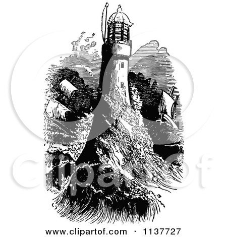 Clipart Of A Retro Vintage Black And White Ship And Waves Crashing Into A Light House - Royalty Free Vector Illustration by Prawny Vintage