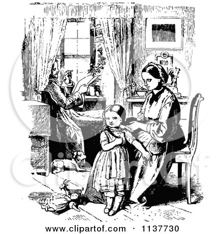 Clipart Of A Retro Vintage Black And White Mother Braiding Her Daughters Hair As Father Reads - Royalty Free Vector Illustration by Prawny Vintage