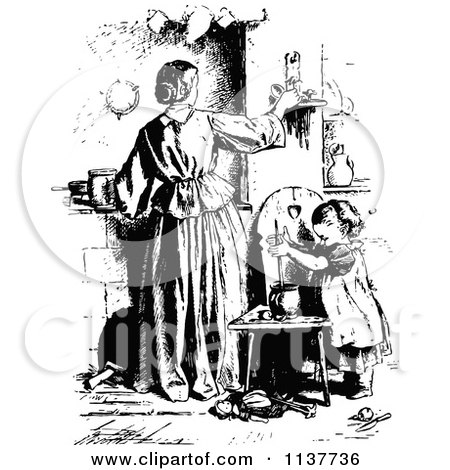 Clipart Of A Retro Vintage Black And White Mother Adjusting A Candle And Daughter  - Royalty Free Vector Illustration by Prawny Vintage