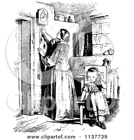 Clipart Of A Retro Vintage Black And White Mother Adjusting A Clock And Daughter - Royalty Free Vector Illustration by Prawny Vintage
