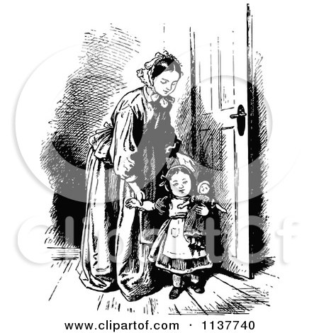 Clipart Of A Retro Vintage Black And White Mother And Daughter With A Doll - Royalty Free Vector Illustration by Prawny Vintage