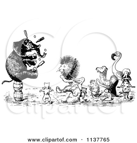 Clipart Of Retro Vintage Black And White Performing Circus Animals - Royalty Free Vector Illustration by Prawny Vintage