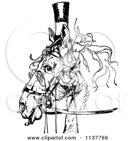 Clipart Of A Retro Vintage Black And White Posh Horse - Royalty Free Vector Illustration by Prawny Vintage